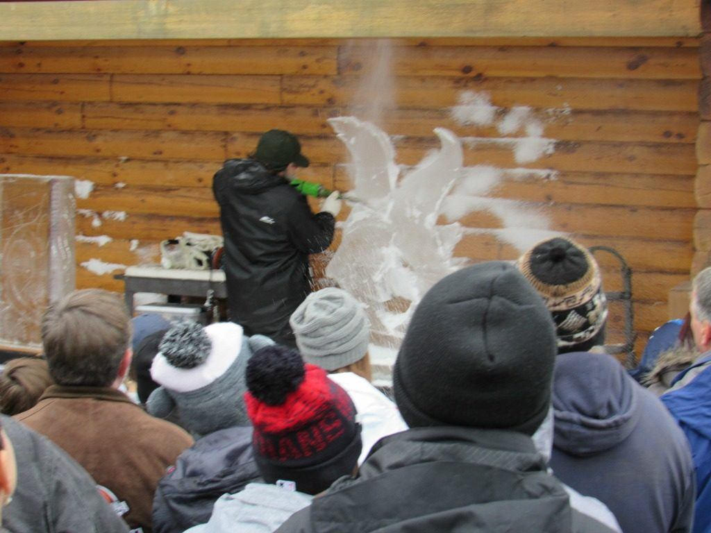 ice sculpting at Mohican Winterfest in Loudonville, Ohio.