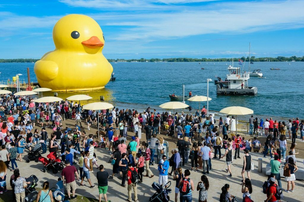 The World's Largest Rubber Duck making an appearance in Canada in 2017. In 2018, this large rubber duck will head to Sandusky, Ohio.