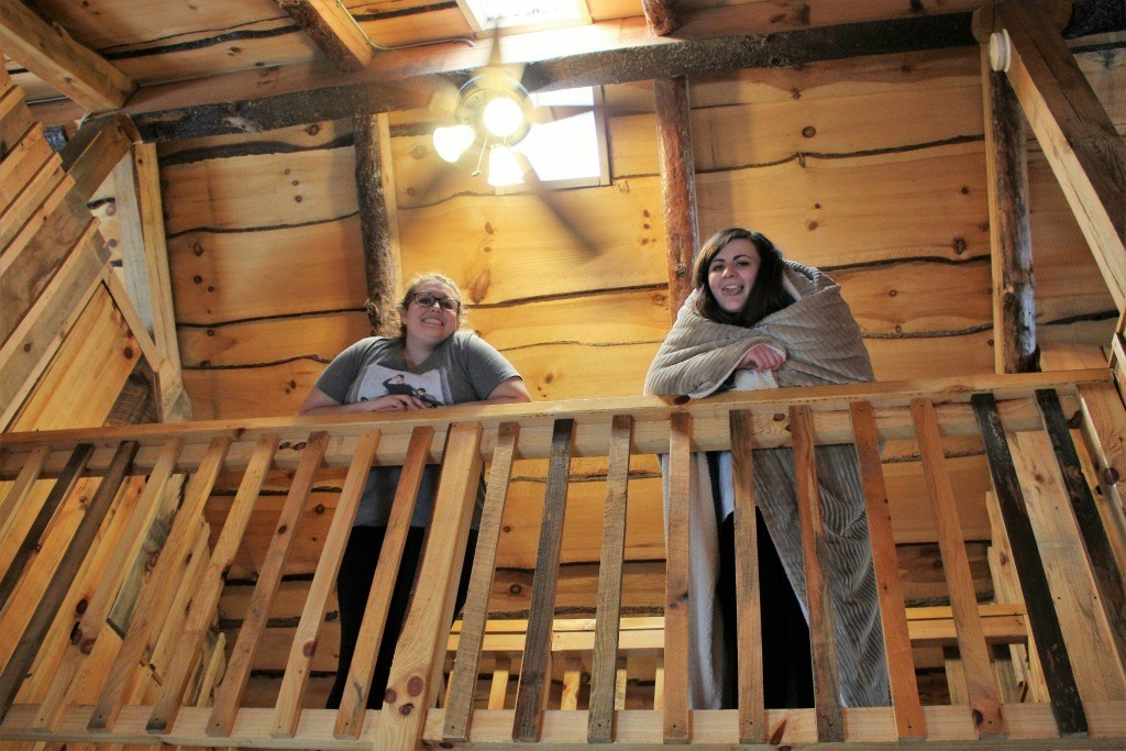 The girls didn't waste any time getting comfortable at the cabin. Isn't this what glamping is all about?