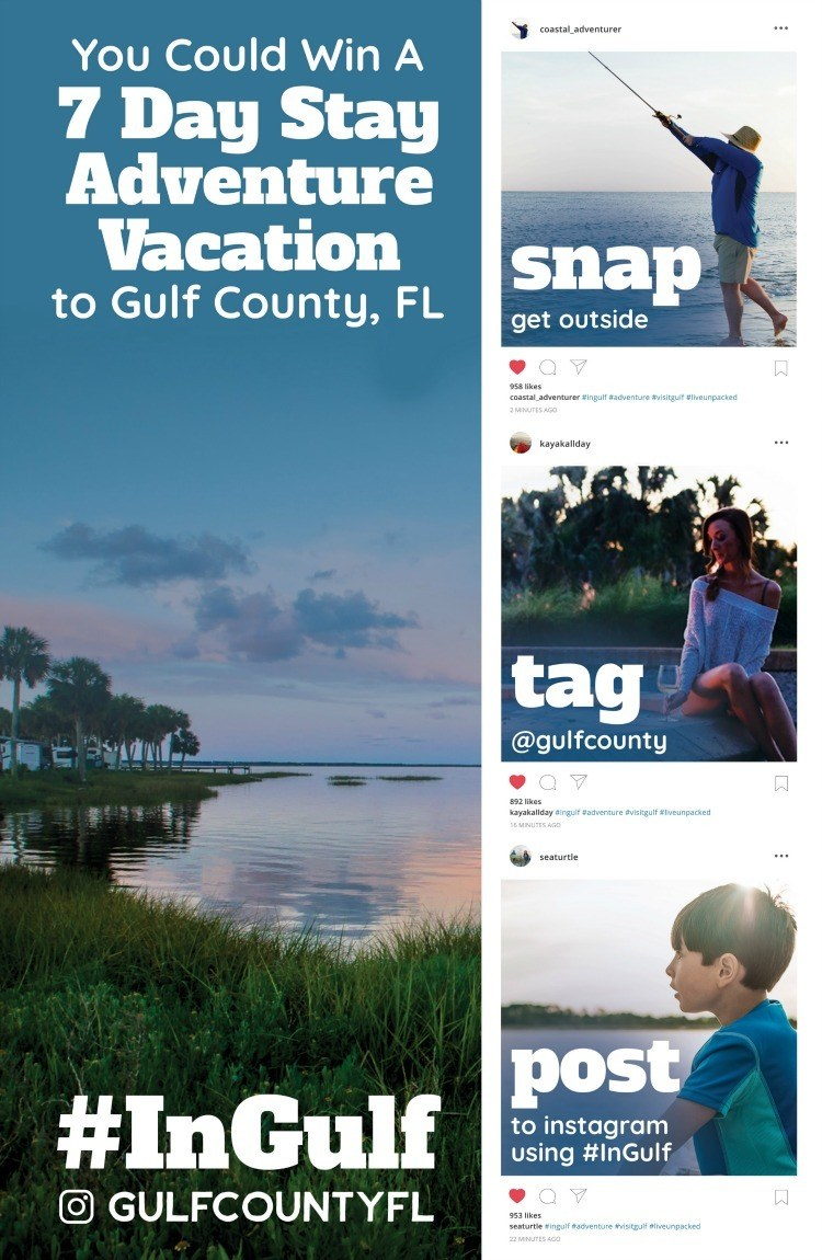 Win a 7-day Stay Adventure Vacation to Gulf County, FL #InGulf