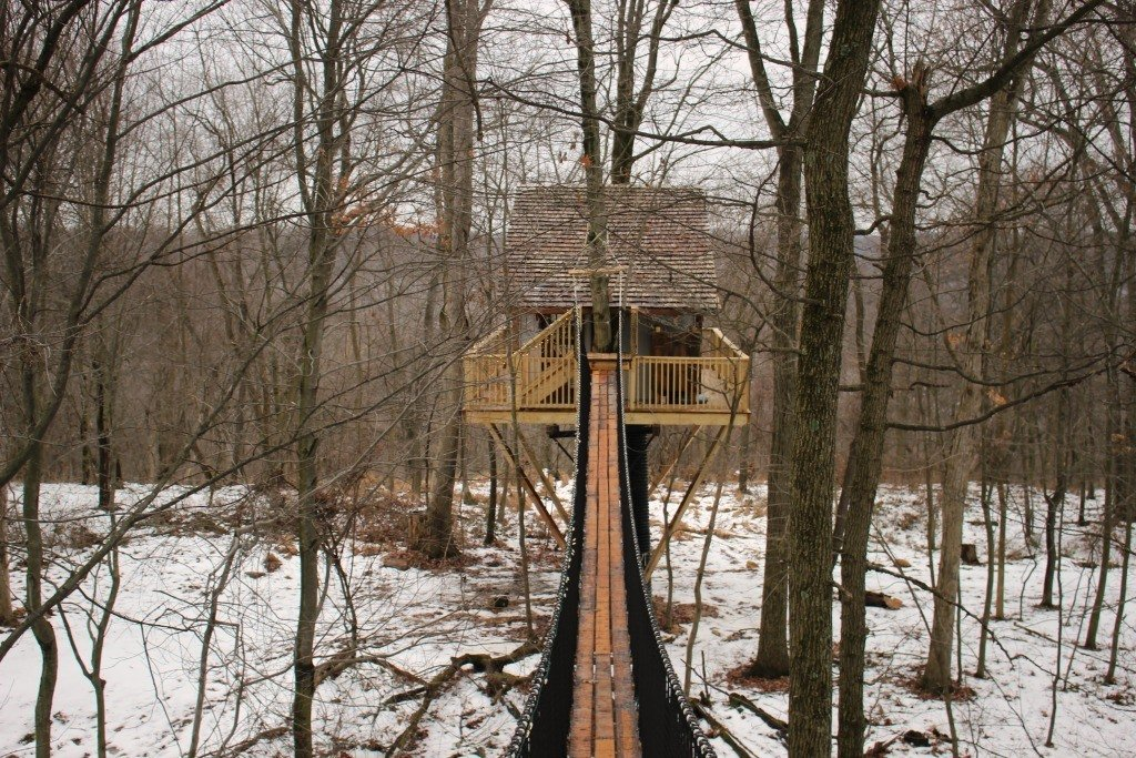 The Tin Shed Treeshouse is tucked amid the woods at The Mohicans.