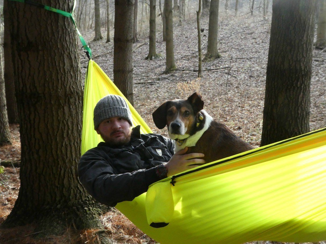 Hammocking with our dog