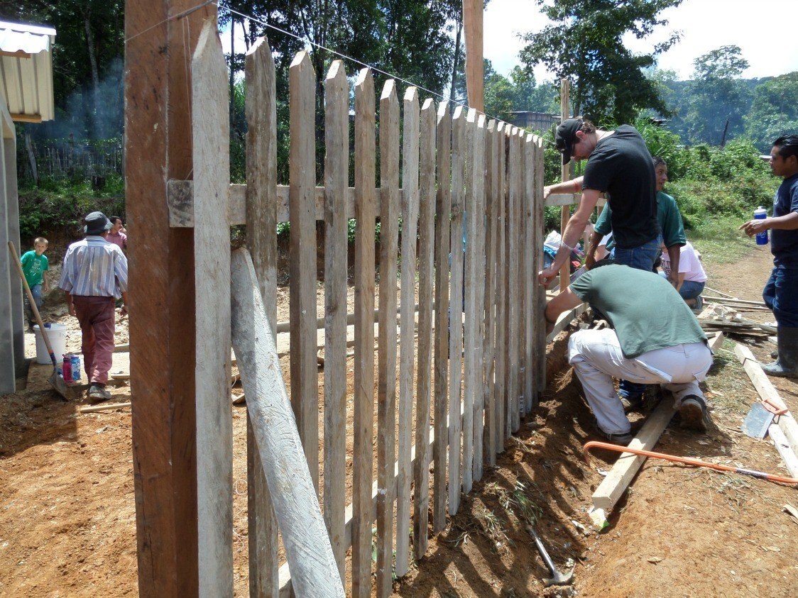 building fences in Honduras on a mission trip