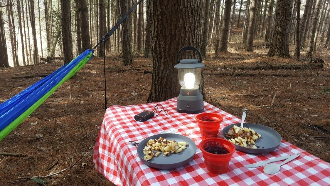 eating breakfast in the woods