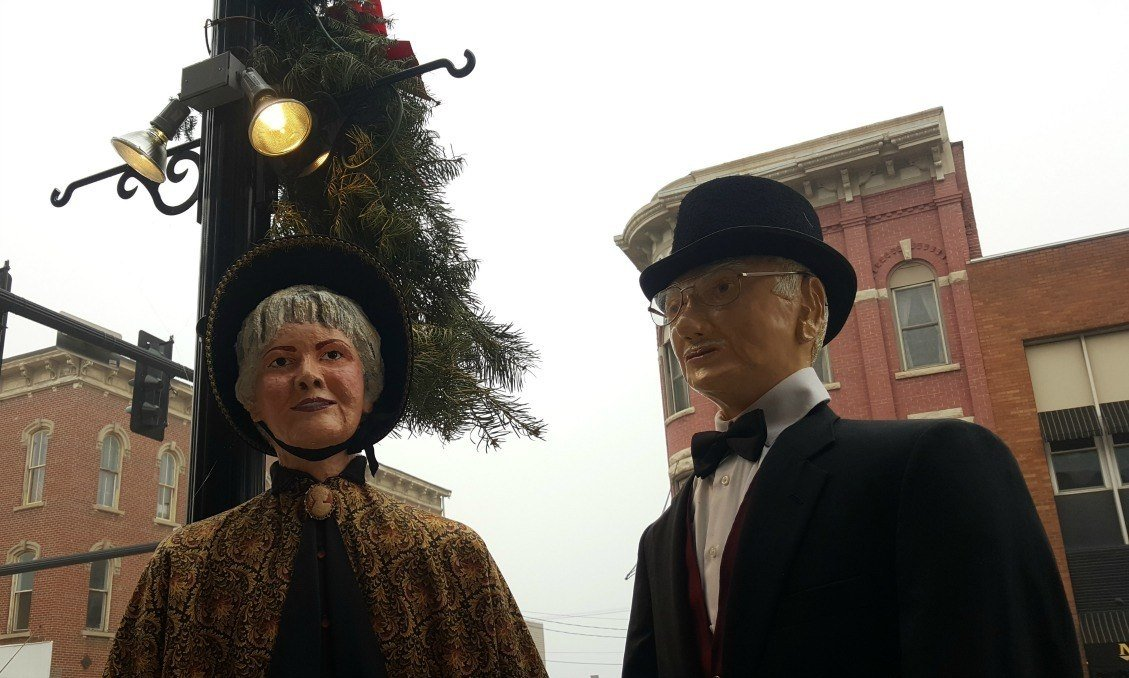 Scenes from Dicken's England line the streets of Cambridge during the holiday season.