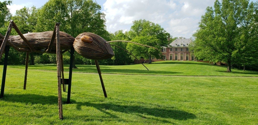Giant ants are seen walking across the lawn of Kingwood Center Gardens with Kingwood Hall in the background