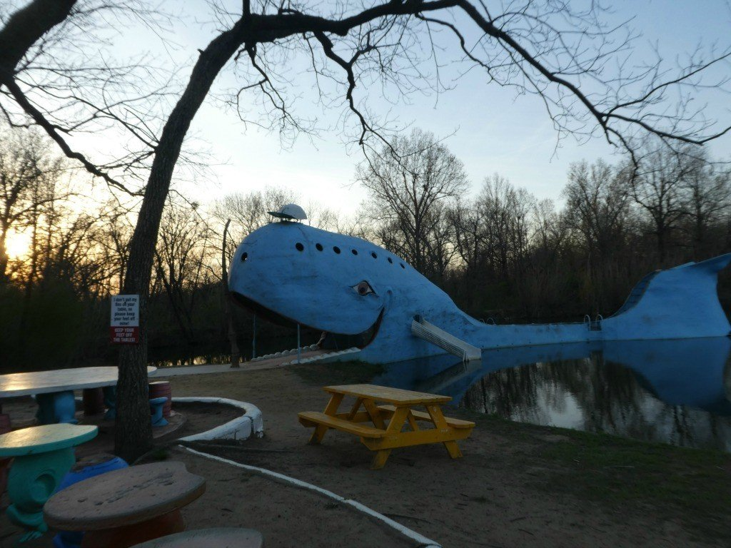 The Blue Whale of Catoosa as seen as the sun sets along Route 66 in Oklahoma