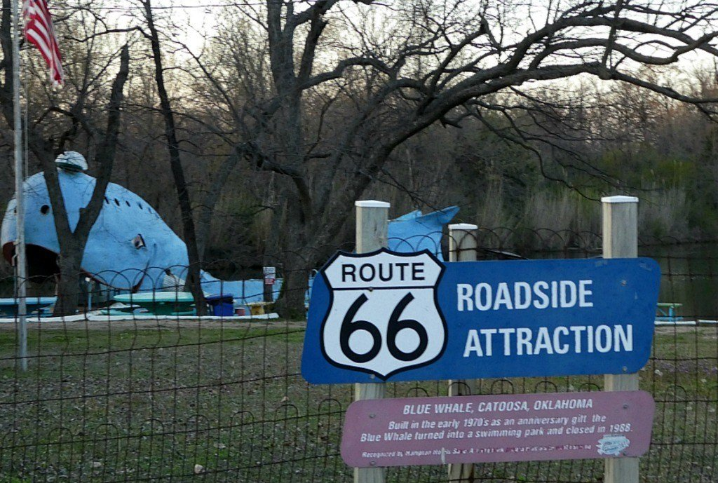 The sign for the Blue Whale of Catoosa as seen from Route 66