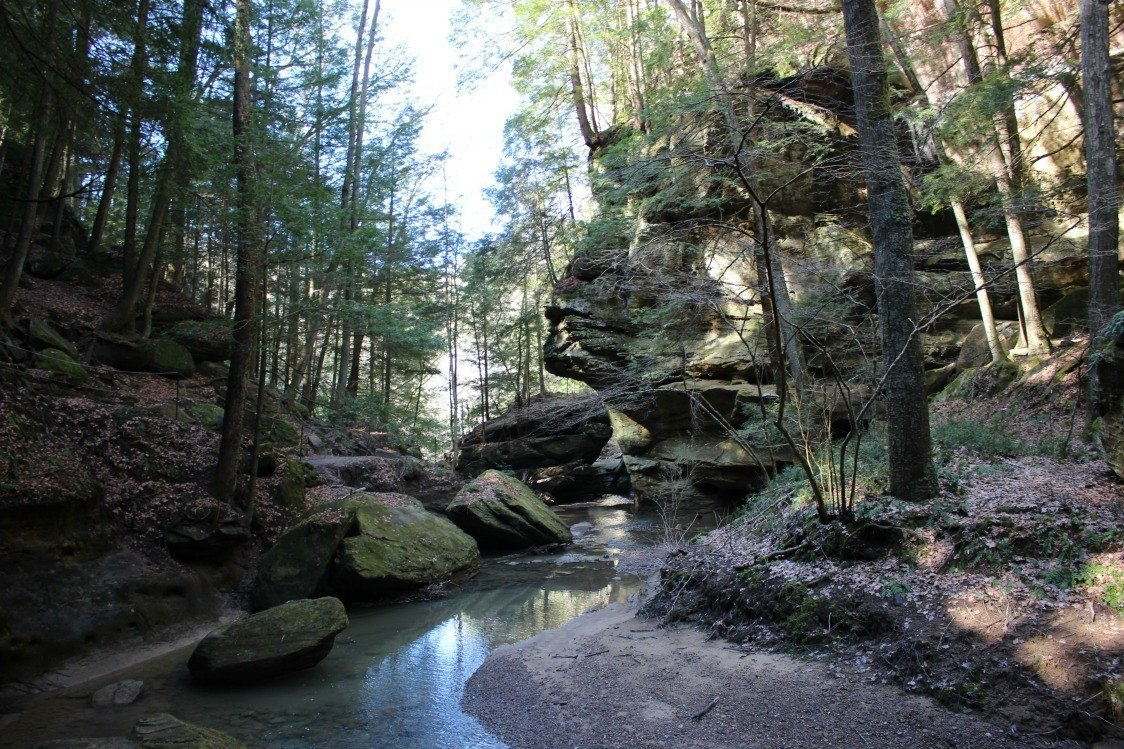This photo taken at Hocking Hills State Park highlights the Sphinx Rock.
