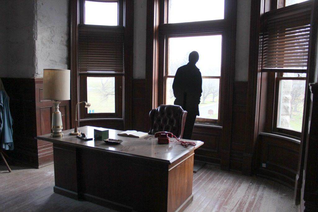 A glimpse inside the Warden's office at the Ohio State Reformatory that was used as the Shawshank Prison in the Shawshank Redemption movie.