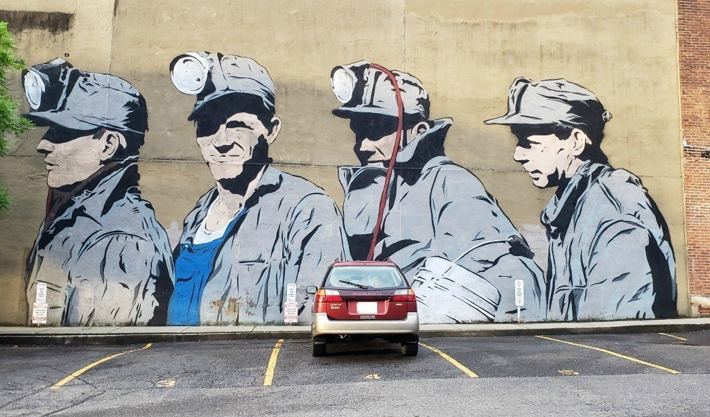 The Miner's Mural is located in Downtown Athens, OHio.