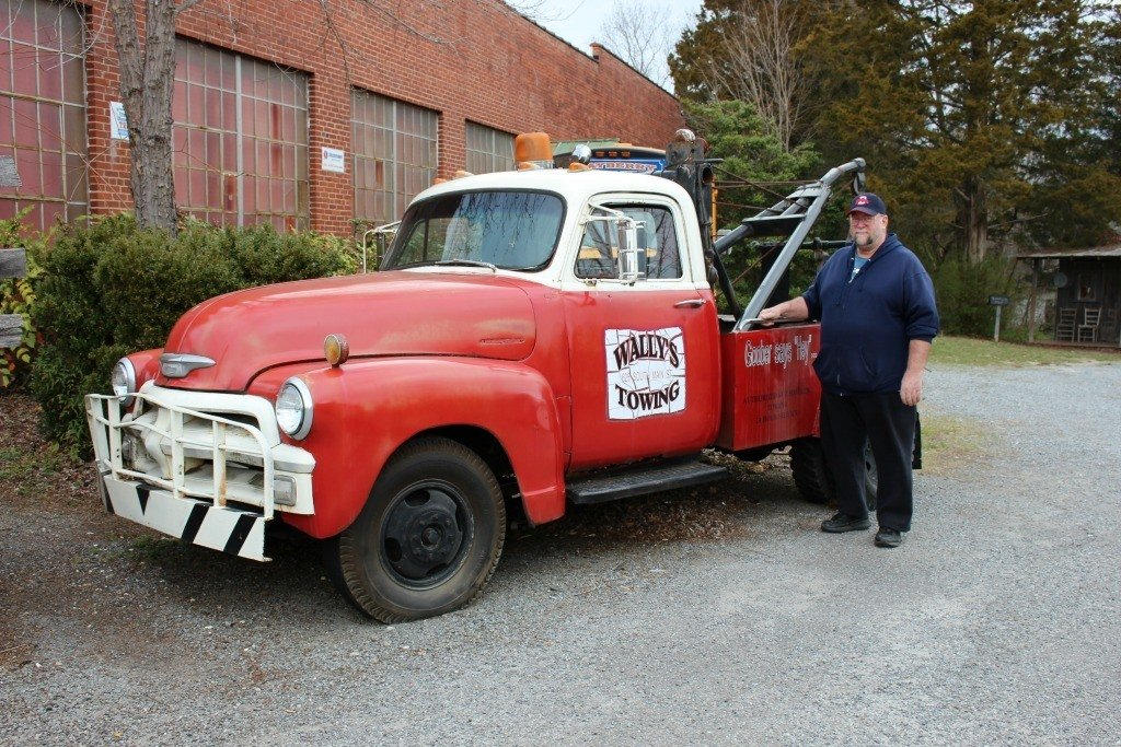 Dad with Wally's Towing Truck