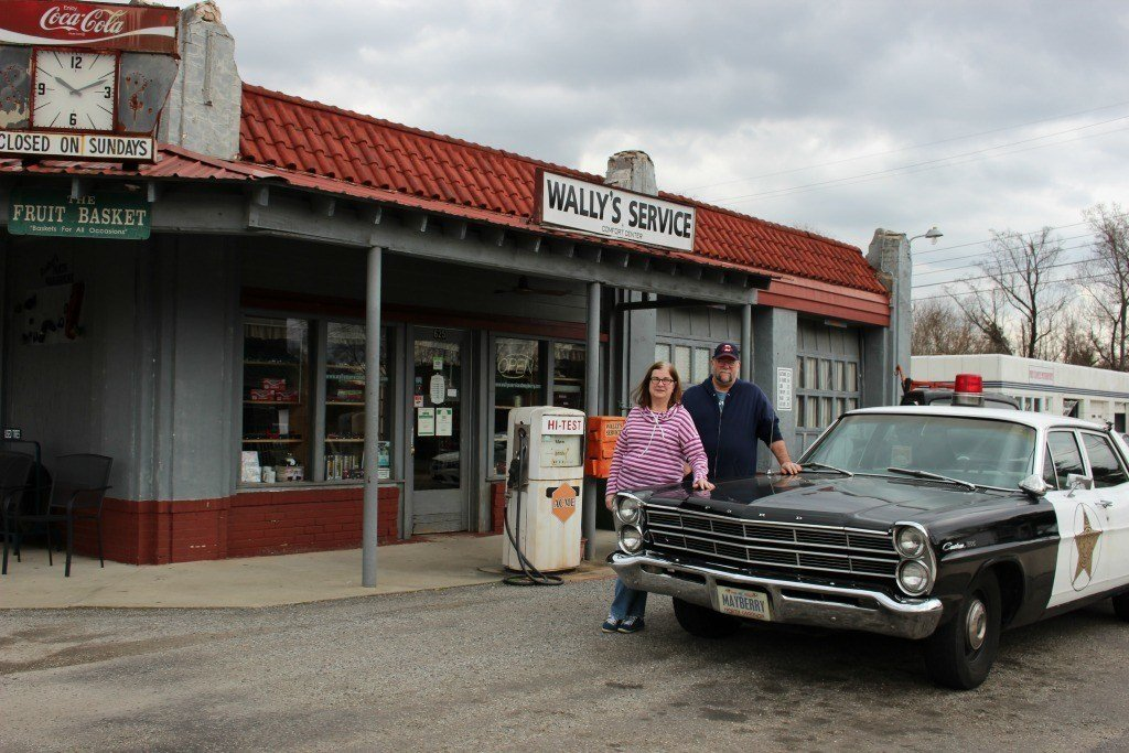 Mom and dad at Wally's Service Station