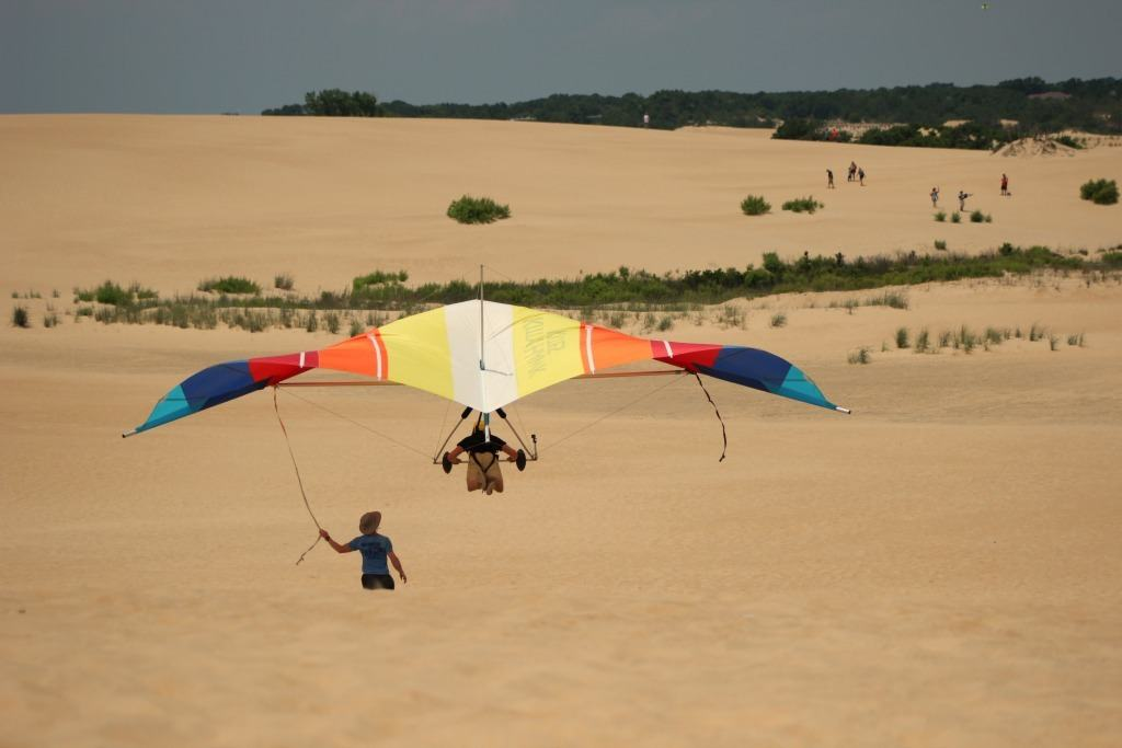 flying during a first hang gliding lesson