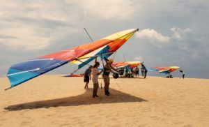 preparing to hang glide