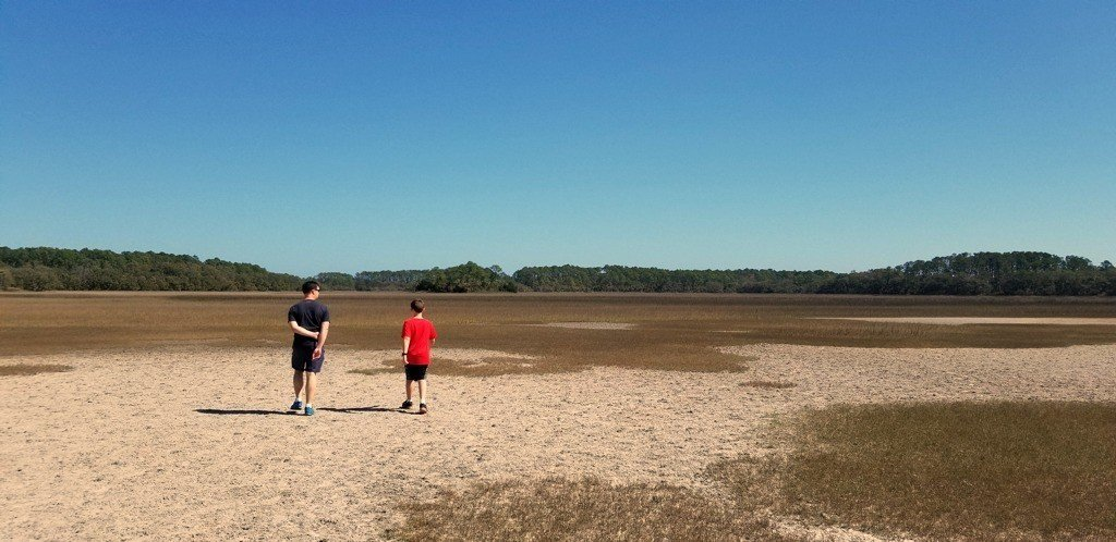 Dad and Jacob on Mud Flat Pinckney