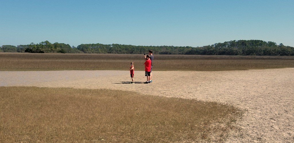 Jacob, Caleb, Dad on Mud Flats