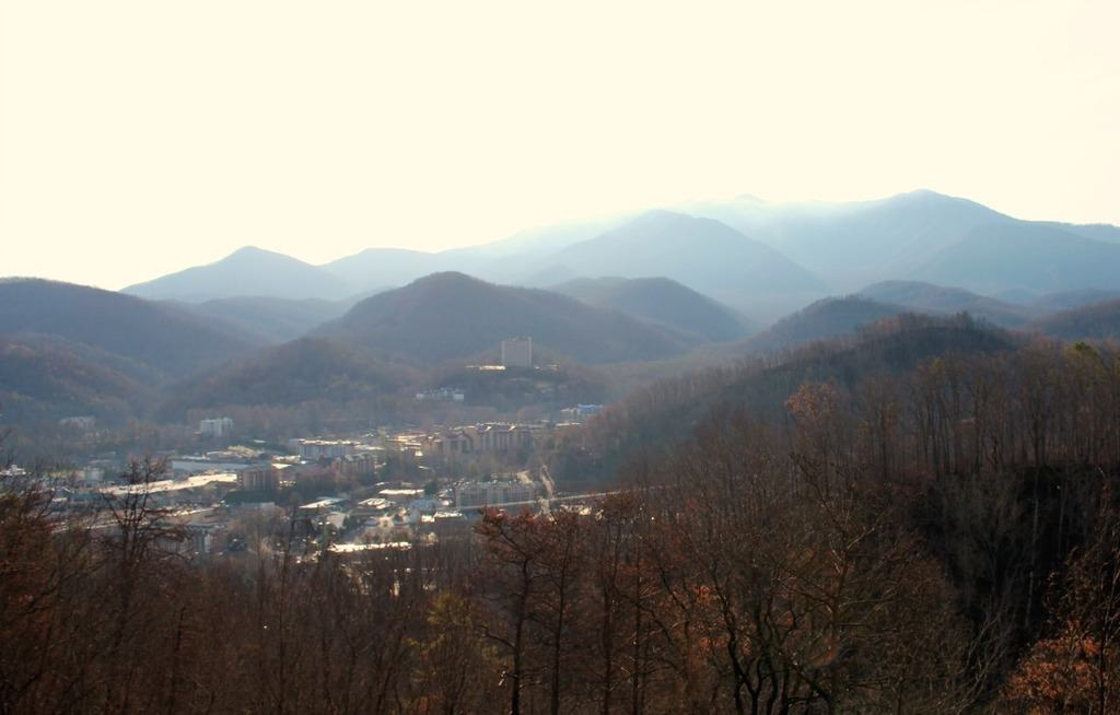 The view of Gatlinburg from the scenic overlook above the town.