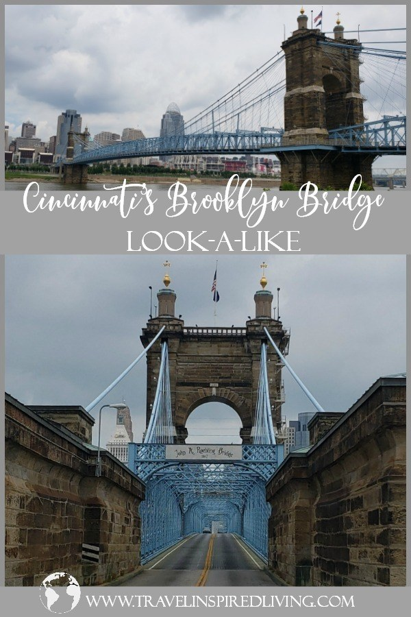 Planning a road trip through Cincinnati? Make sure you take a drive across the Ohio River on the Roebling Bridge, Ohio's version of the Brooklyn Bridge. #thingstodoinOhio #roadtrip #thingstodoinCincinnati #Ohio