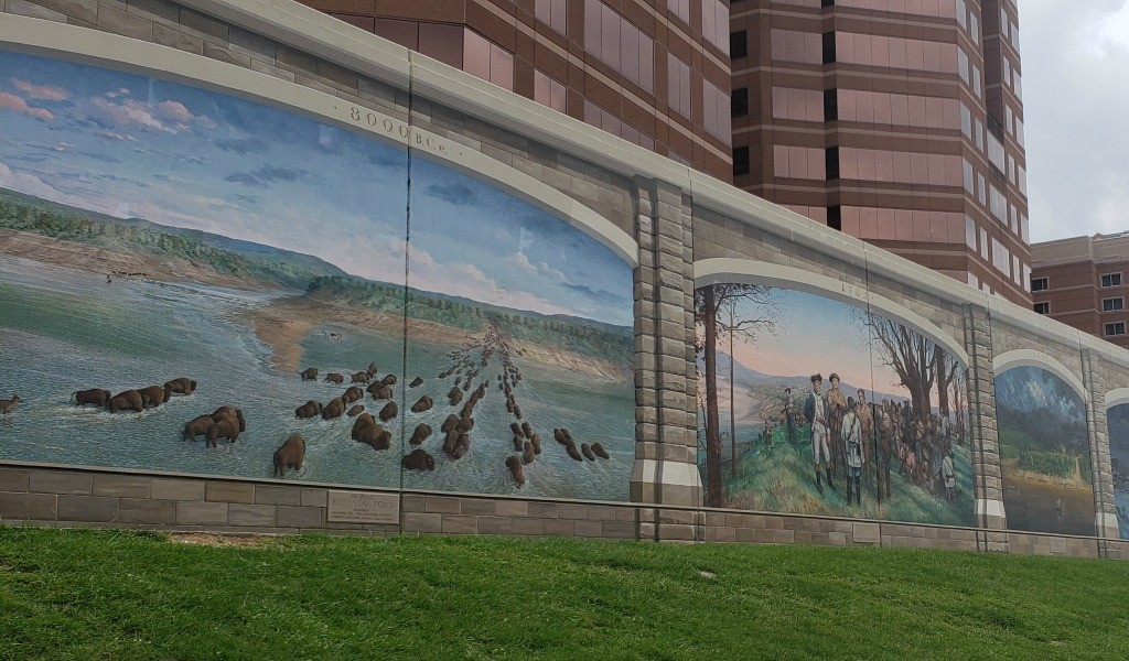 The Roebling Bridge in Cincinnati is pretty cool but so are the murals on the floodwall.