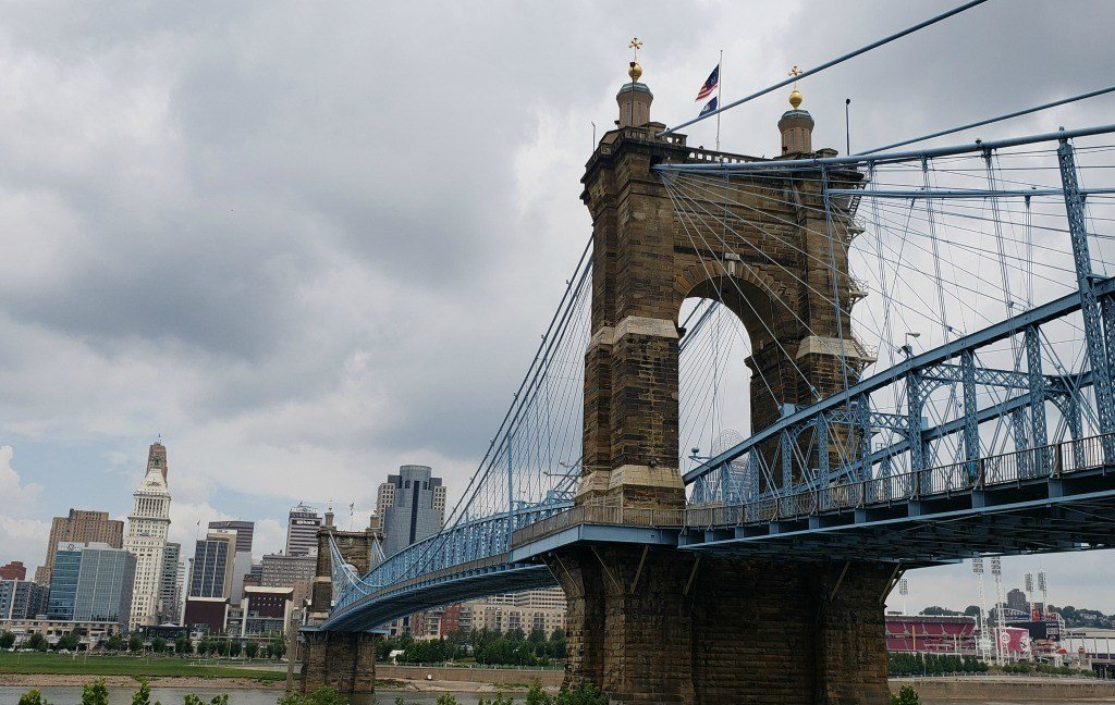 The Roebling Bridge crosses the Ohio River to connect Cincinnati and Covington, Kentucky.