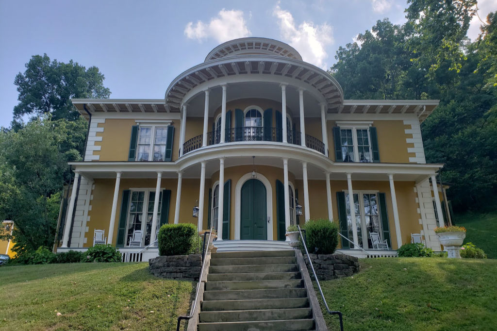The Hillforest Historic Mansion in Aurora, Indiana lies along the banks or the Ohio River.