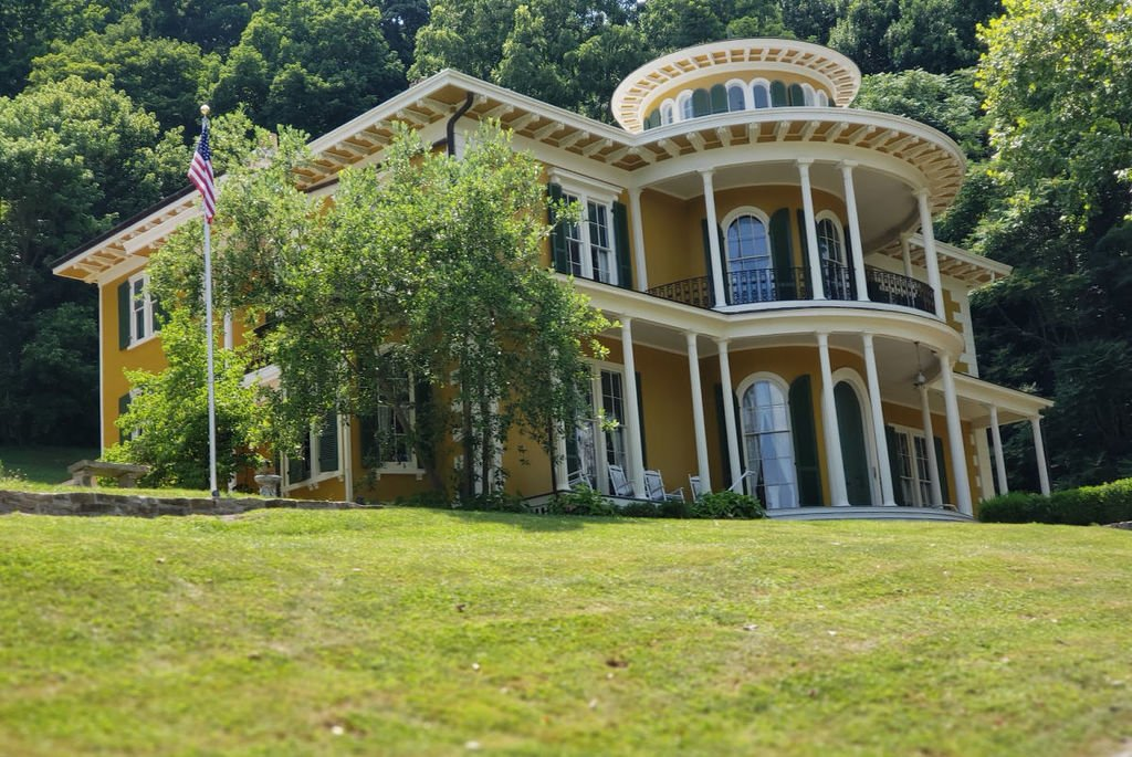 The historic Hillforest Mansion sits atop a hill and overlooks the Ohio River.
