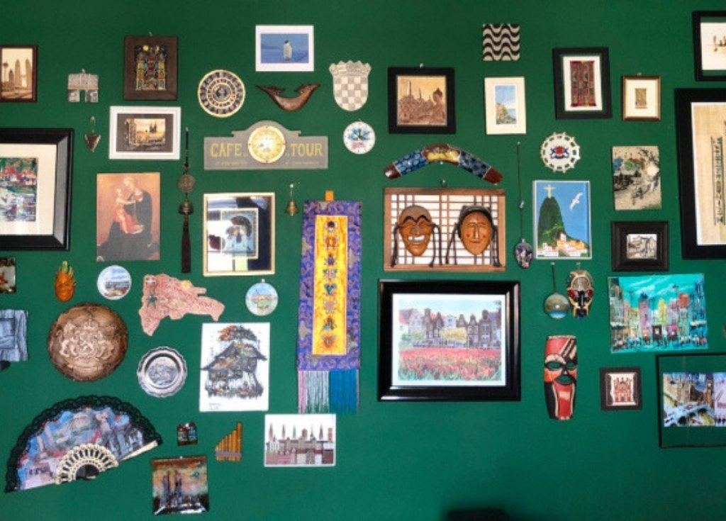 Create a wall in your home to display travel souvenirs.