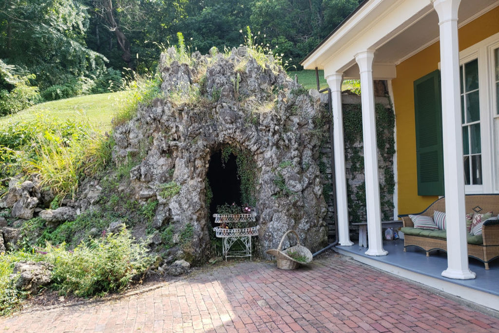 The Grotto at the Hillforest Home is located a few steps from the side door.