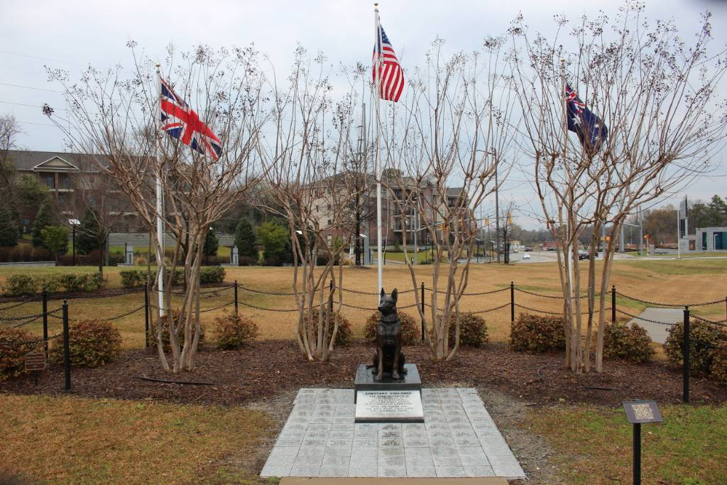 The K9 memorial in Fayetteville, NC honors the SOF dogs killed in the line of duty.
