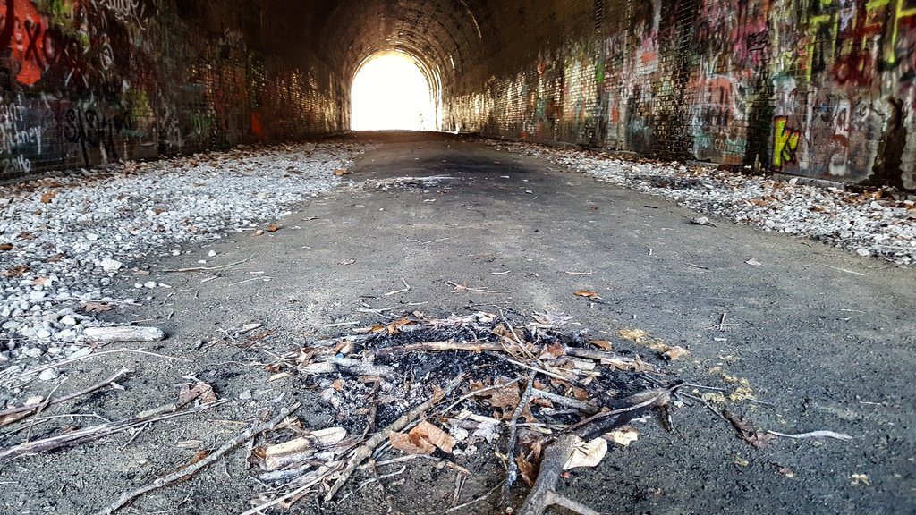 Ashes on the floor of Moonville Tunnel