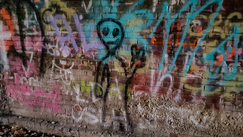 Grafitti on the walls of Moonville Tunnel