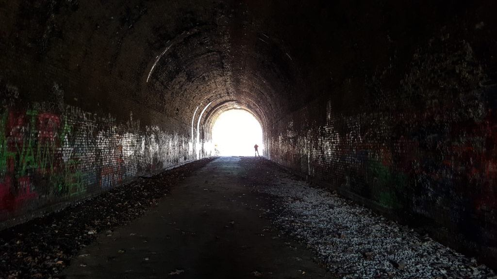 Inside Moonville Tunnel is dark and creepy.