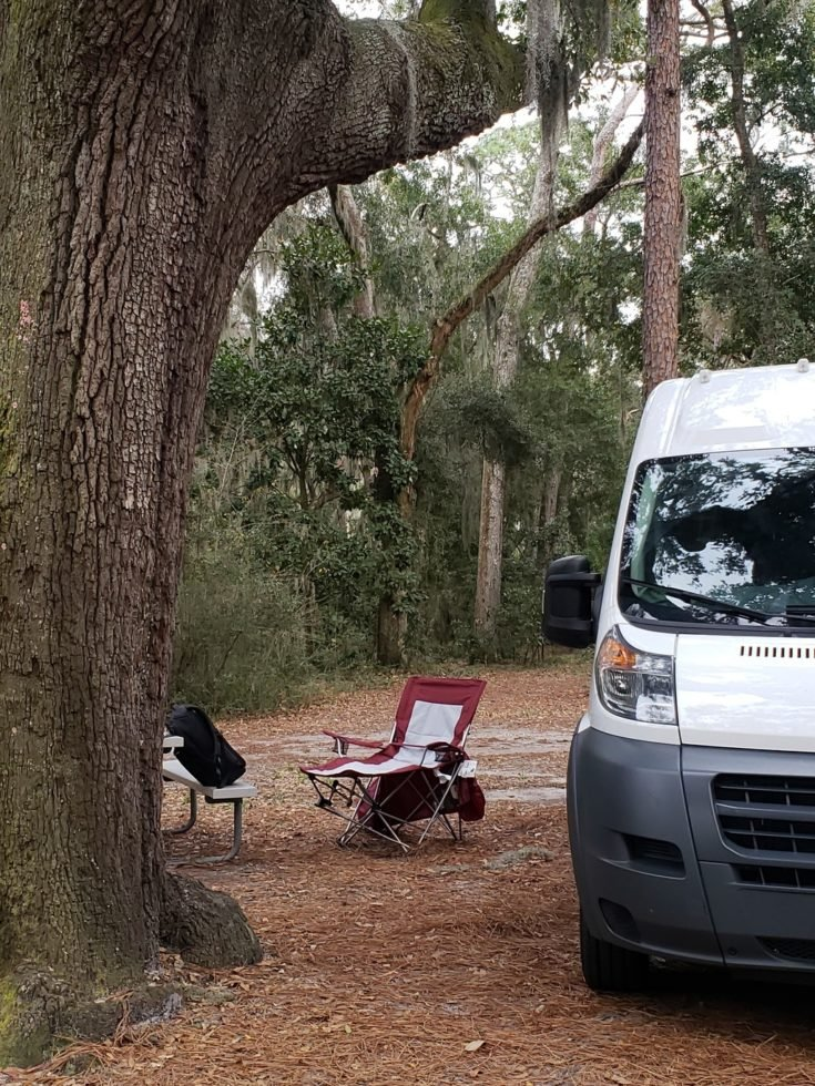 Van camping on Jekyll Island in Georgia