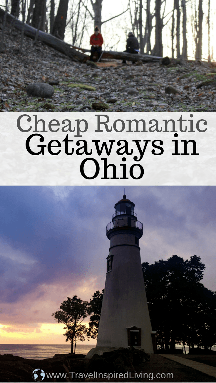 A list of ideas for cheap romantic getaways in Ohio for couples.