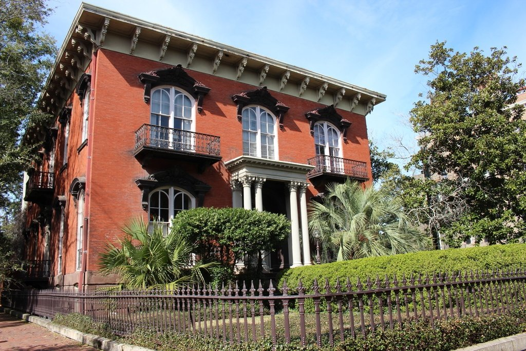 The Mercer House in Savannah is the setting for the novel, Midnight in the Garden of Good and Evil.