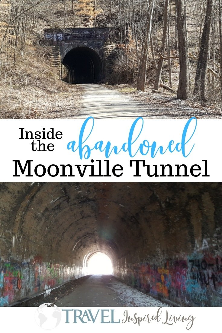 Inside the abandoned railroad tunnel in Hocking Hills