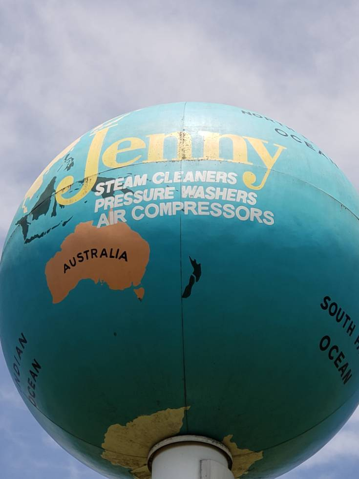 The Jenny Globe is painted with all the continents.