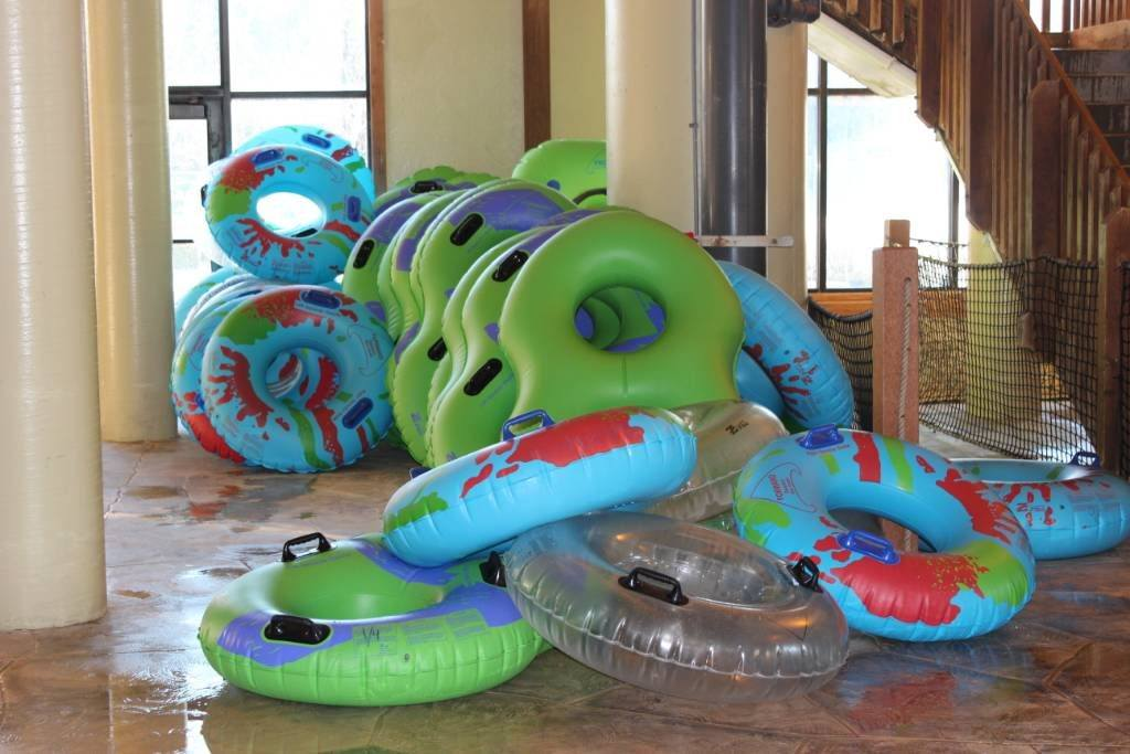 Inner tubes at an Indoor waterpark