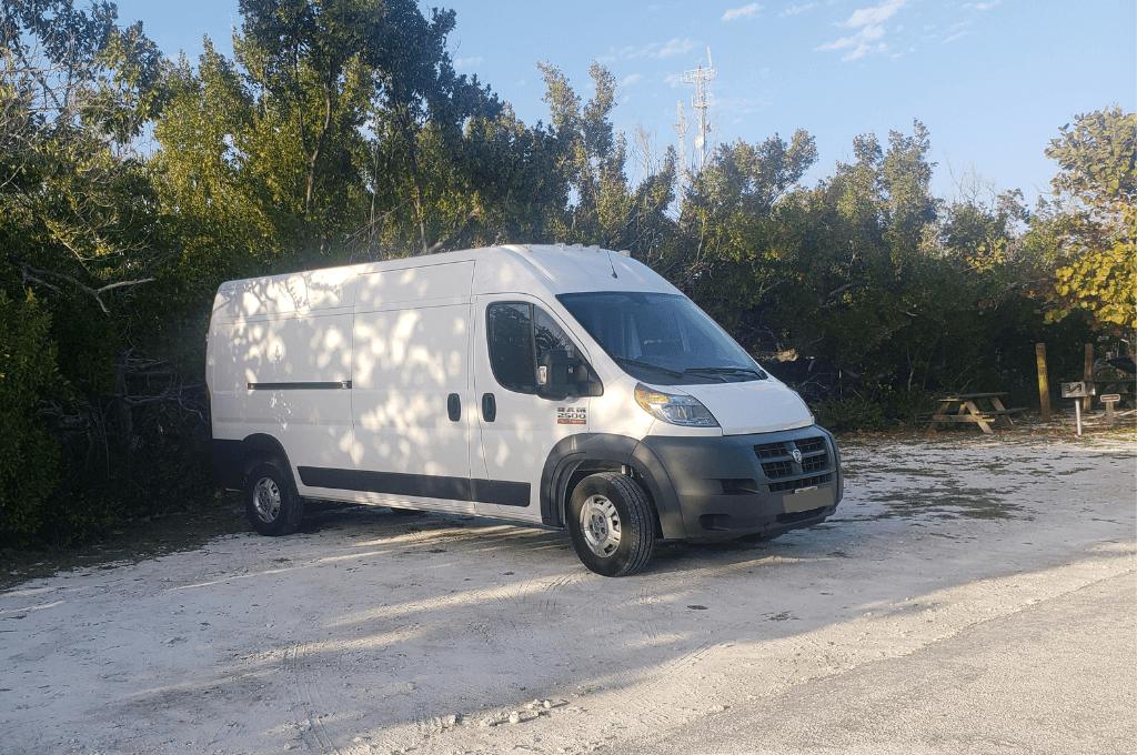 We drive a Dodge Promaster van when van camping.