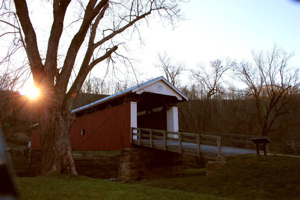 The sun rising at the Rinard Covered Bridge outside Marietta, Ohio.