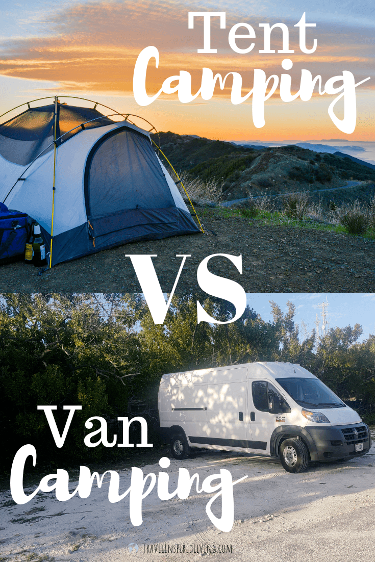 Tent camping vs van camping- do you know which one is for you? We're sharing some of the pros and cons of each.