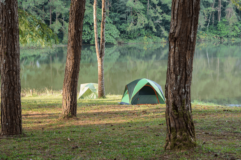 Tent camping by the water