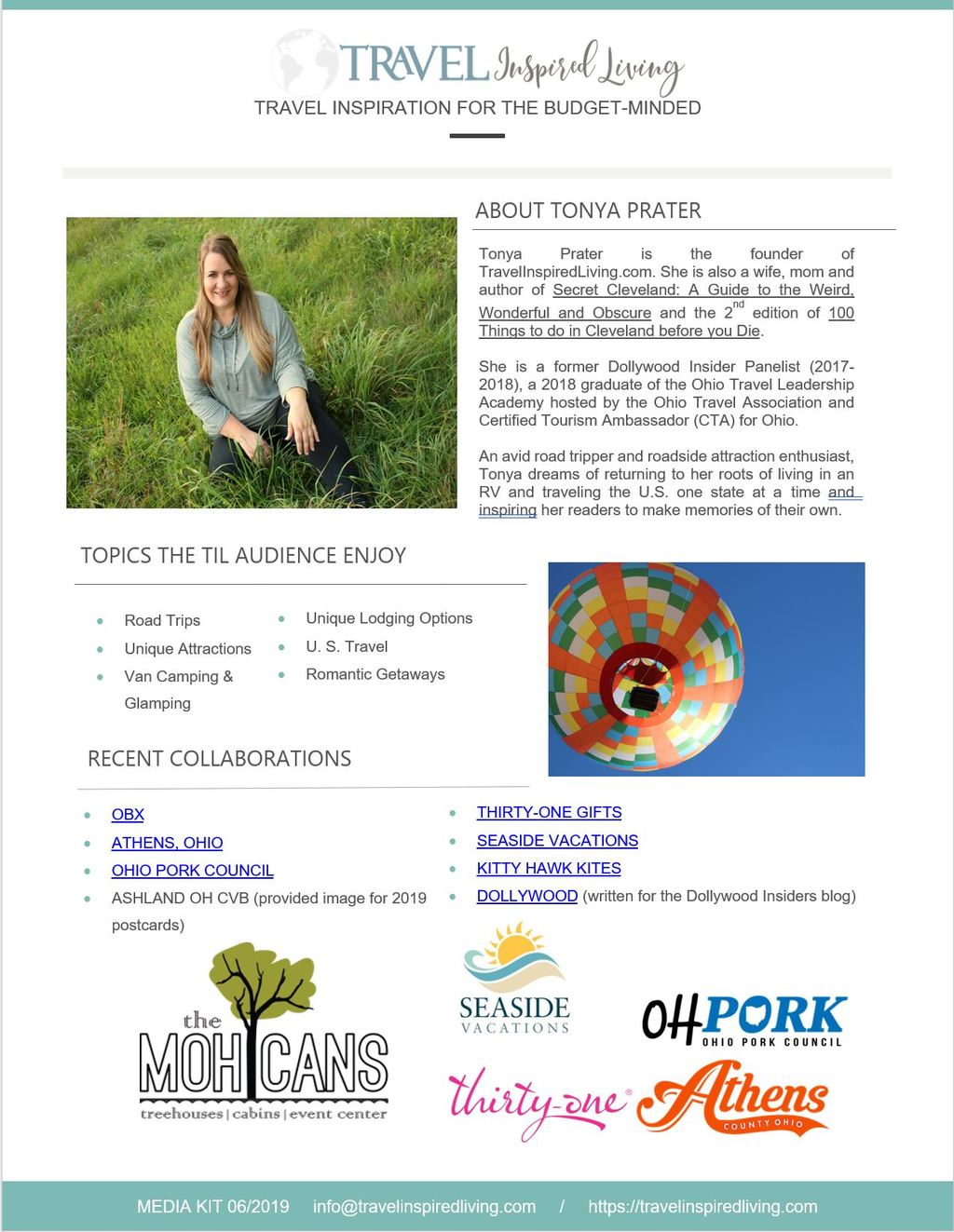 Page 2 of Media Kit for Travel Inspired Living