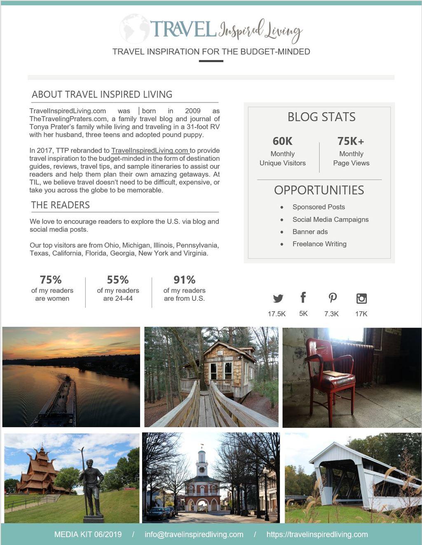 Travel Inspired Living Media Kit Page 1