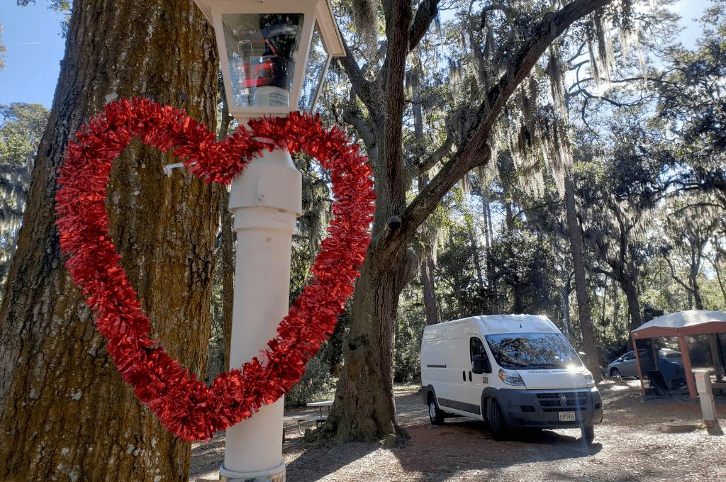 Van camping in Tybee Island