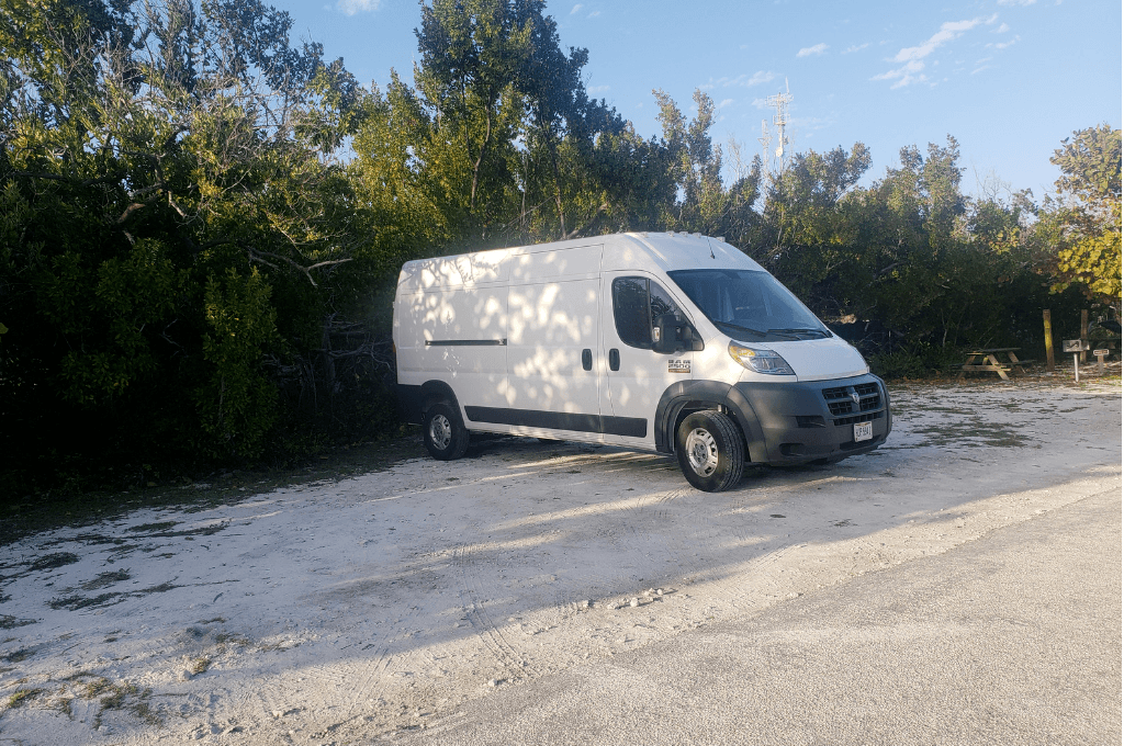 Van camping in the Florida Keys