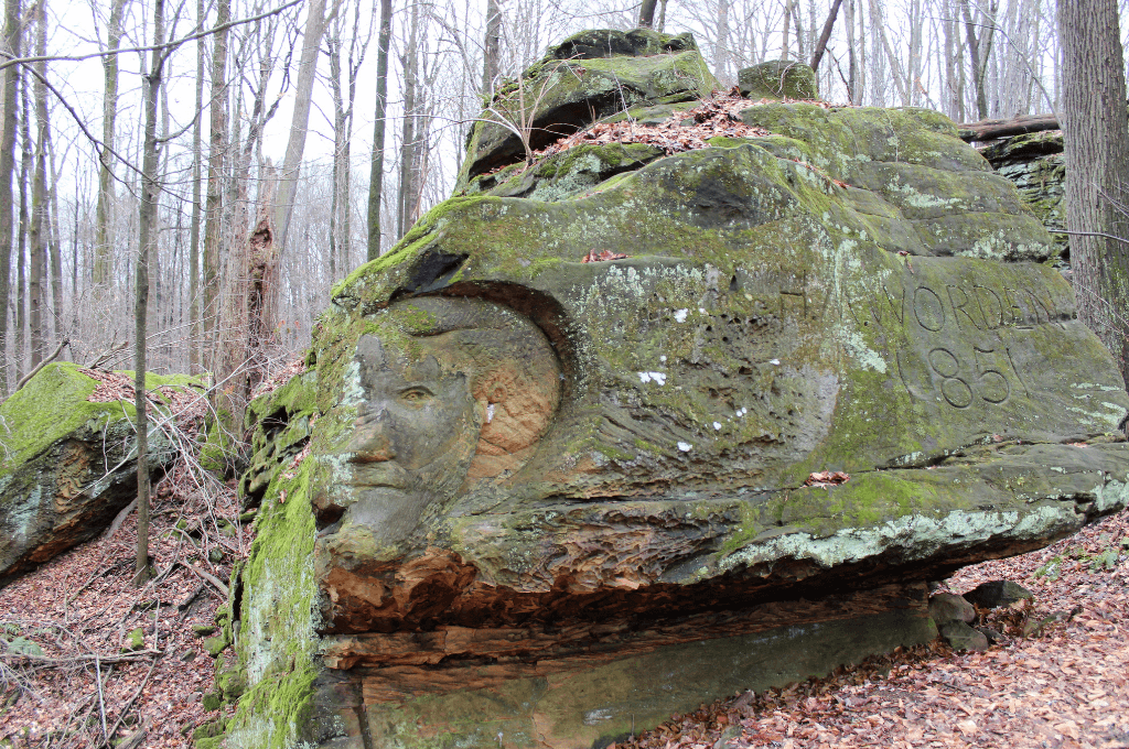 Worden's Ledges is a short hiking trail that features carvings in the limestone.