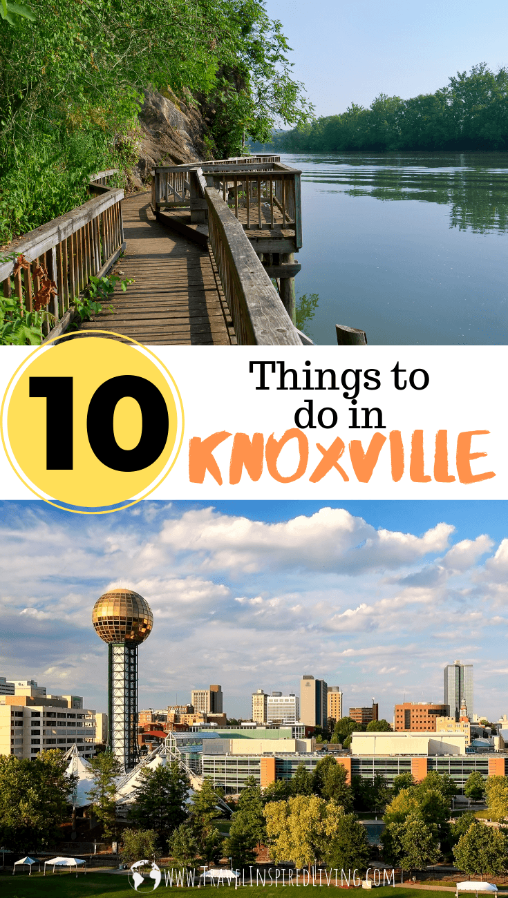 The photo on the top shows a boardwalk over water and the bottom photo is a cityscape of Knoxville.