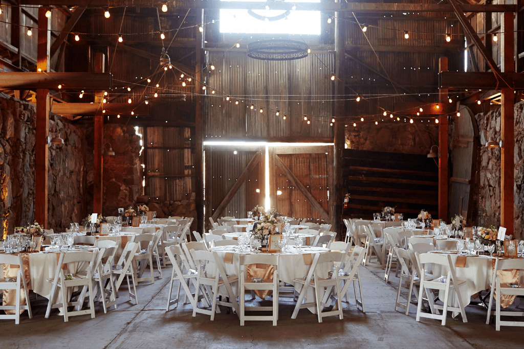 A barn set up for a wedding